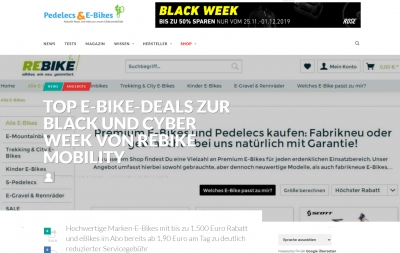 TOP E-Bike Deals zur Black and Cyber Week von Rebike Mobility
