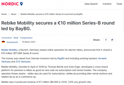 nordic9.com: Rebike Mobility secures a €10 million Series-B round led by BayBG.
